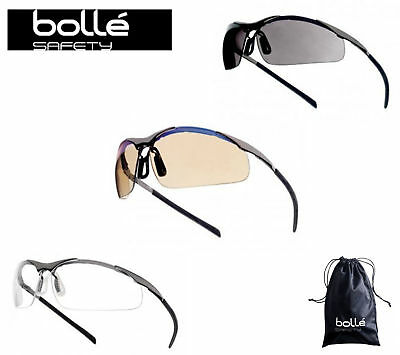 Bolle Contour ESP / Clear / Smoke Safety Glasses Includes FREE Microfibre Bag