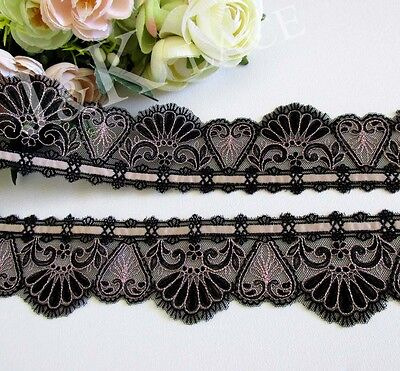 6 cm width Black / Pearl Pink Ribbon Embroidery Mesh Lace Trim