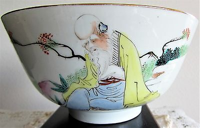 Chinese Porcelain Old Man Famille rose Bowl Blossoms, 4 Character Made in China