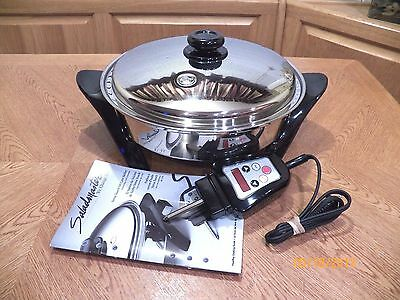 "NEW Saladmaster 316L Electric Skillet 12"" Surgical Stainless 1200 Watt"