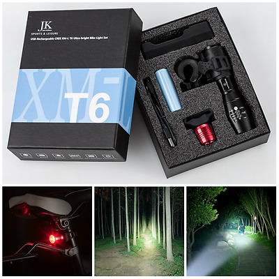 Front Rear Bike LED Lights USB Rechargeable Mountain Cree Cycle Bicycle Light