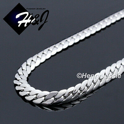 "18-40""MEN Stainless Steel 8mm Silver Miami Cuban Curb Link Chain Necklace*N155"