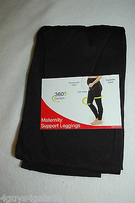 Womens BLACK MATERNITY SUPPORT LEGGINGS Supports Back & Lifts Baby M L XL 2X