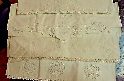 Vintage Antique Hand Embroidered Crocheted Pillowcases White on White Lot of 4