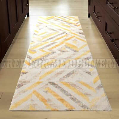 VOLUME GEOMETRIC YELLOW TRENDY MODERN FLOOR RUG RUNNER 80x300cm **FREE DELIVERY*