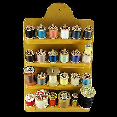 Retro Sewing Thread Wall Hanging Organiser incl Vintage Reels Mixed Colours