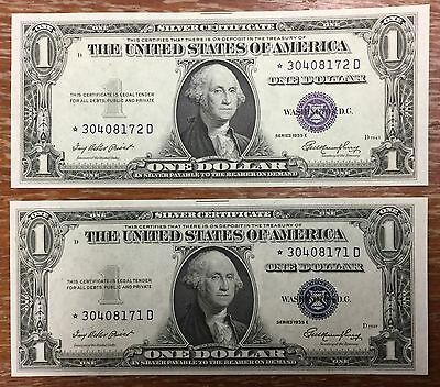 1935 E Silver Certificate $1 Star Note 'Blue Seal' consec pair  UNC scarce