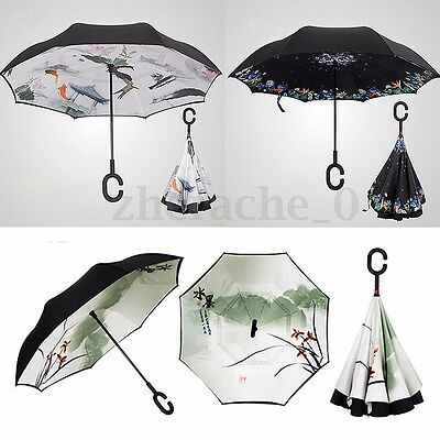 Inverted Windproof Upside Down Reverse Umbrella Double Layer Inside-Out C-Handle