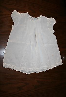 Vintage Baby or doll Dress Feltman Bros. Hand Made white 2 buttons