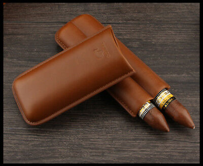 COHIBA Brown Genuine Leather Cigar Case 2 Tube Travel Holder With Gift Box