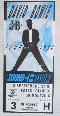 David Bowie : Ticket Original !!!! (Barcelona 1990) Spain  !!!!!!