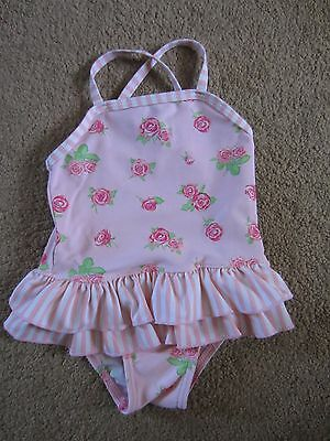 Baby Girls Mothercare Pink Flower Swimming Costume – Age 6-9 Months