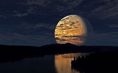 full moon river nature photo print High Quality Canvas /Choose your size