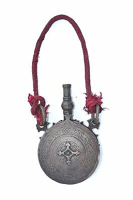 Handsome Antique Brass/copper Persian/islamic/arabic/ottoman Gun Powder Flask