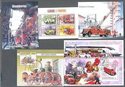 Fire engines-Firefighting 10 different miniature sheets collection