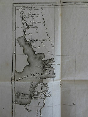 1823 Map Expedition Isle la Crosse Fort Providence Canada Arctic Franklin Polar