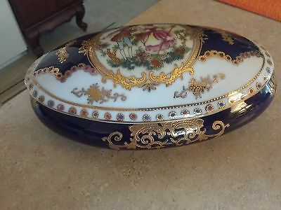 LIMOGES French Porcelain Hand Painted Cobalt Blue Box