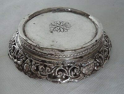ANTIQUE EASTERN / INDIAN c1920 SOLID / STERLING SILVER STAND / COASTER