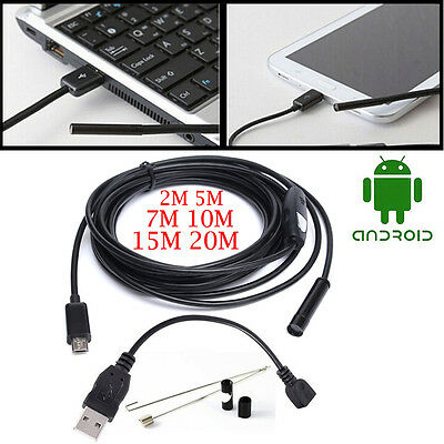 1/3/5M Cable Android Mini Sewer Camera Borescope for OTG USB Pipe Car Inspection