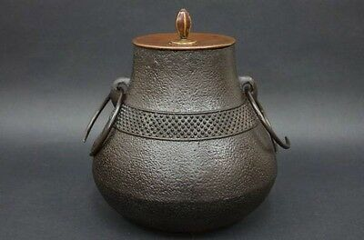 Antique Tea Ceremony CHAGAMA Japanese iron bronze kettle art from JAPAN a248