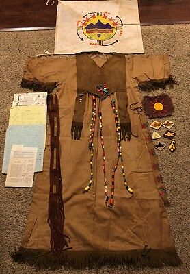 Vintage 1960's Camp Fire Girls Ceremonial Gown Vest Patches Beads Pins Belt +++