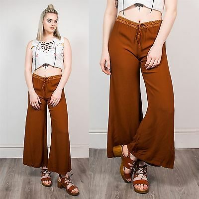 90S Womens Retro Hippie Wide Leg Trousers Palazzo Brown Tan Summer Festival 14