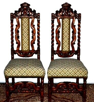 Pair of Antique Victorian Carved Walnut Barley Twist Hall Chairs [PL3481]