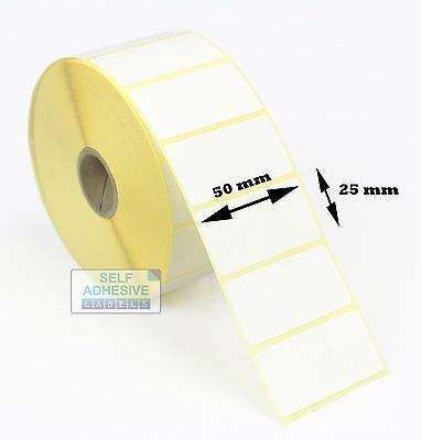 5,000 WHITE Direct Thermal Labels Printer Labels (50 x 25mm)