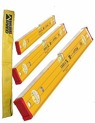 Stabila Double Plumb Ribbed/Bricklayer Spirit Levels 60,120,180cm 3pcs Set W/Bag
