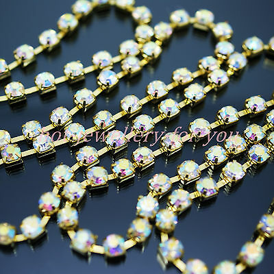 Gold Chain Rhinestones AB Crystal Iridescent Diamond Sew On Cup 1m to 10 metres