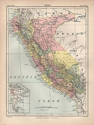 1880 ca ANTIQUE MAP- PERU