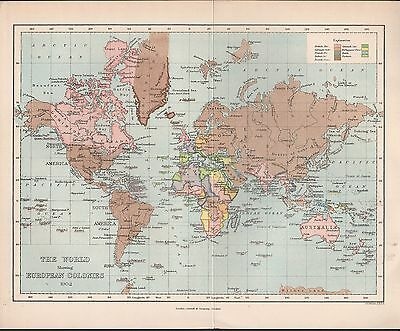 1902 Antique Map - The World Showing European Colonies