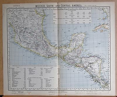 1883  Antique Map Mexico South, Central America Nicaragua, Costa Rica