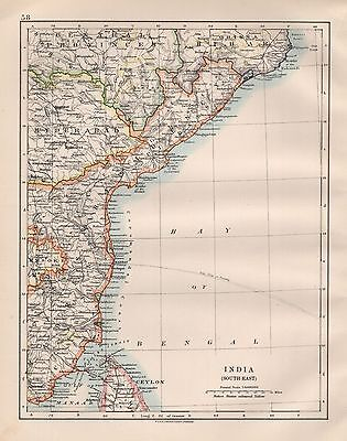 1920 Vintage Map- India South East