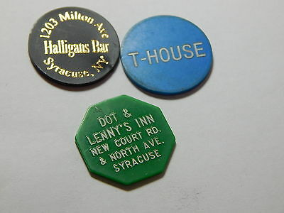 Vintage Syracuse NY - Lot of 3 Different Plastic Token  - A16