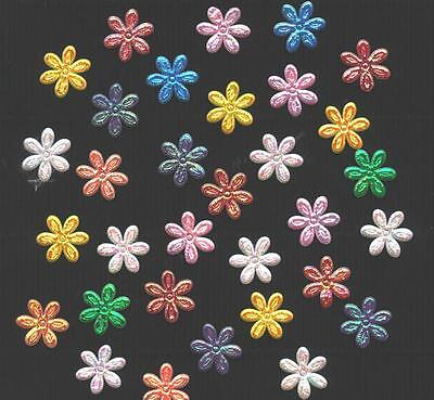 100x16mm Fabric FLOWERS FFE27 Scrapbook Card & HairClip Embellishments