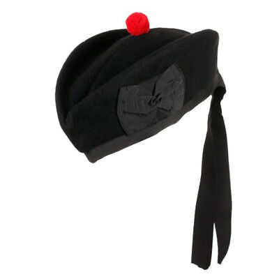 New Scottish Piper Hat 100% Pure Wool Plain Glengarry Military Hat - Choose Size