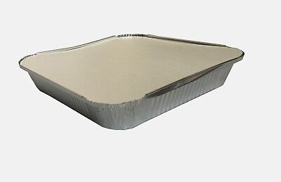 "50 LARGE ALUMINIUM FOIL FOOD CONTAINERS TRAYS 9''x9""x2'' with Lids"