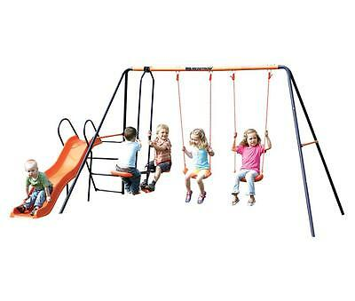 Hedstrom M08610 Double Swing Glider and Slide Combination Europa Swing Set - New