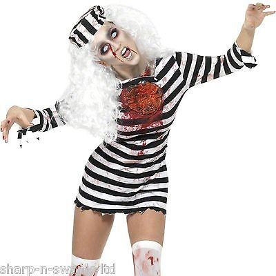 Ladies Halloween Sexy Zombie Prisoner Convict Scary Fancy Dress Costume Outfit