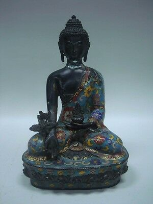 Rare Old Chinese Bronze Enamel Painting Buddha Seated Statue Sculpture QA002