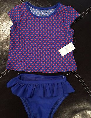 NWT Gap Girls 18-24 months Blue/Red Two Piece Polka Dot Swimsuit