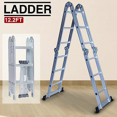 Aluminum Ladder 12.2FT Multi Purpose Folding Step Scaffold Extendable Heavy