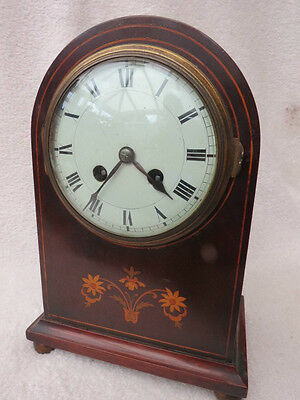 Antique French Striking Satinwood Inlaid Mahogany Mantel Clock For Tlc