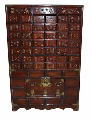 10470 401: CLEARANCE: Antique Asian / Chinese Apothecary Medicine Herb Cabinet