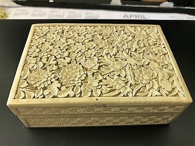 Antique Chinese White Cinnabar Lacquered Wooden Box