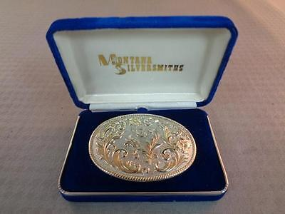 Montana Silver 24K Gold Plate Oval Floral Belt Buckle