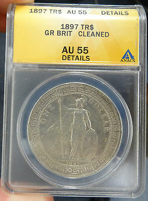 1897 British silver Trade Dollar KM #T5 certified AU 55 details - free shipping