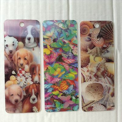 Set Of 3  3D Bookmarks. -  Puppies / Butterflies / Sea Shells