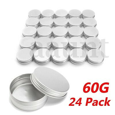24Pcs Steel Round Tin Cans 2 oz Screw Top Lid Storage Beard Lip Balm Empty Can